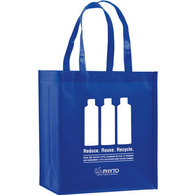 laminated royal blue grocery bag with white print