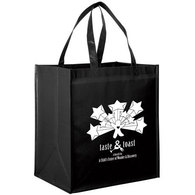 laminated black grocery bag with white print
